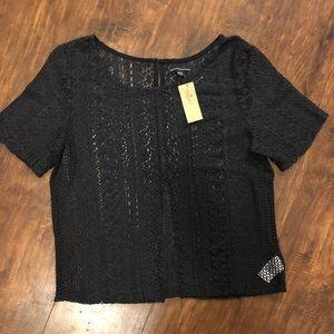 American Eagle Knit Crochet Top T12